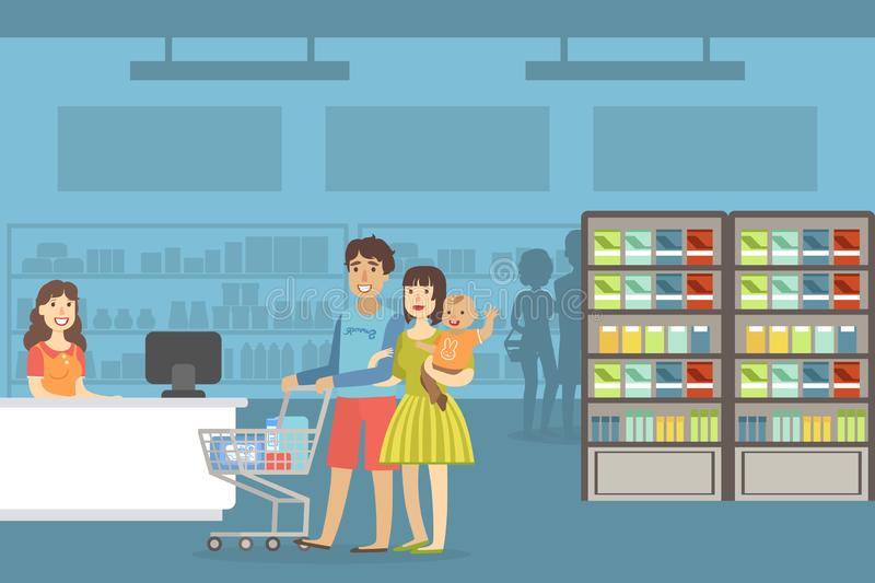 Happy Family Shopping in Supermarket, Smiling Retail Woman Cashier and Cheerful Parents and Their Toddler Baby, Mother vector illustration