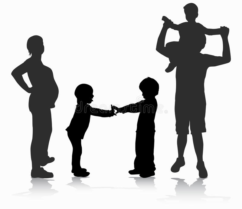 Happy family silhouette royalty free illustration