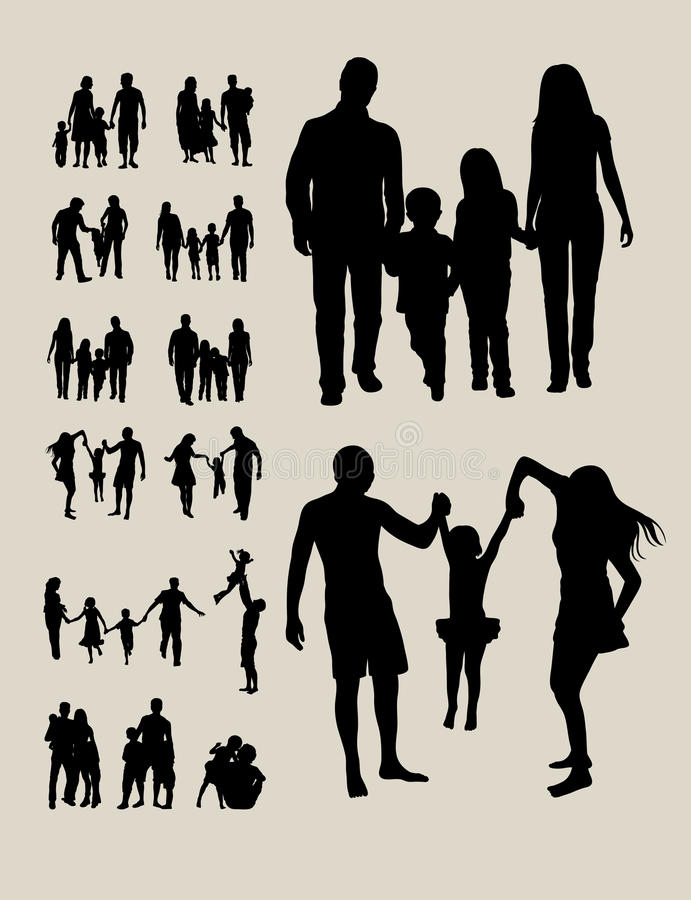 Happy Family Silhouettes vector illustration