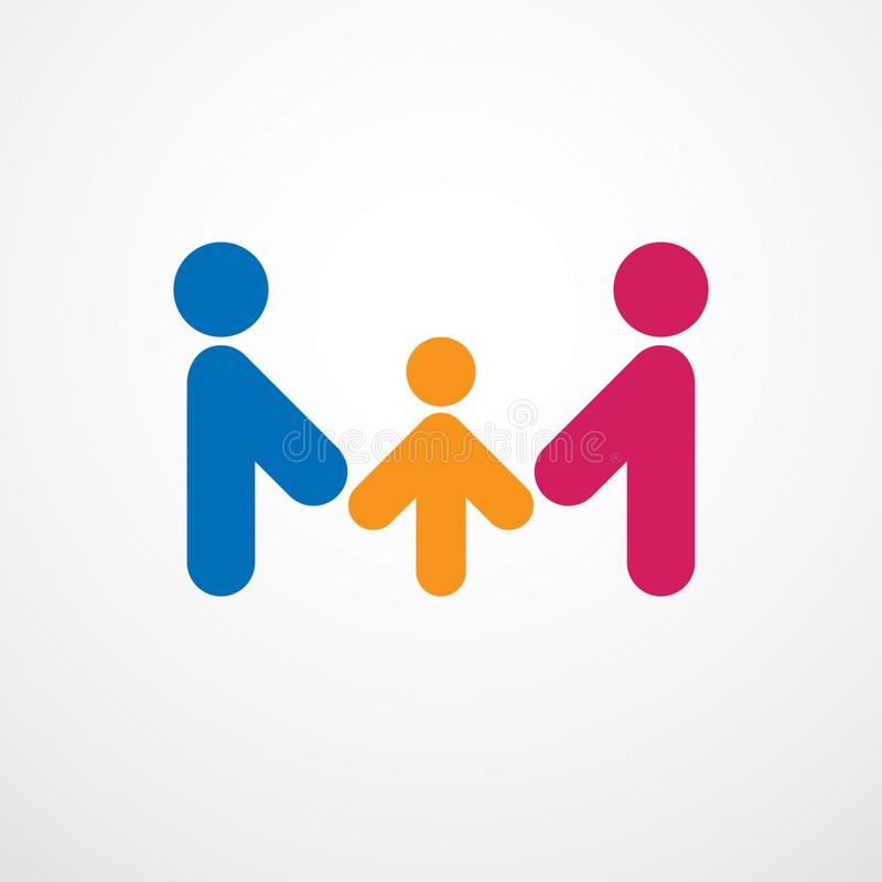 Happy family simple logo or icon created with people geom. Etric signs. Tender and protective relationship of father, mother and child stock illustration