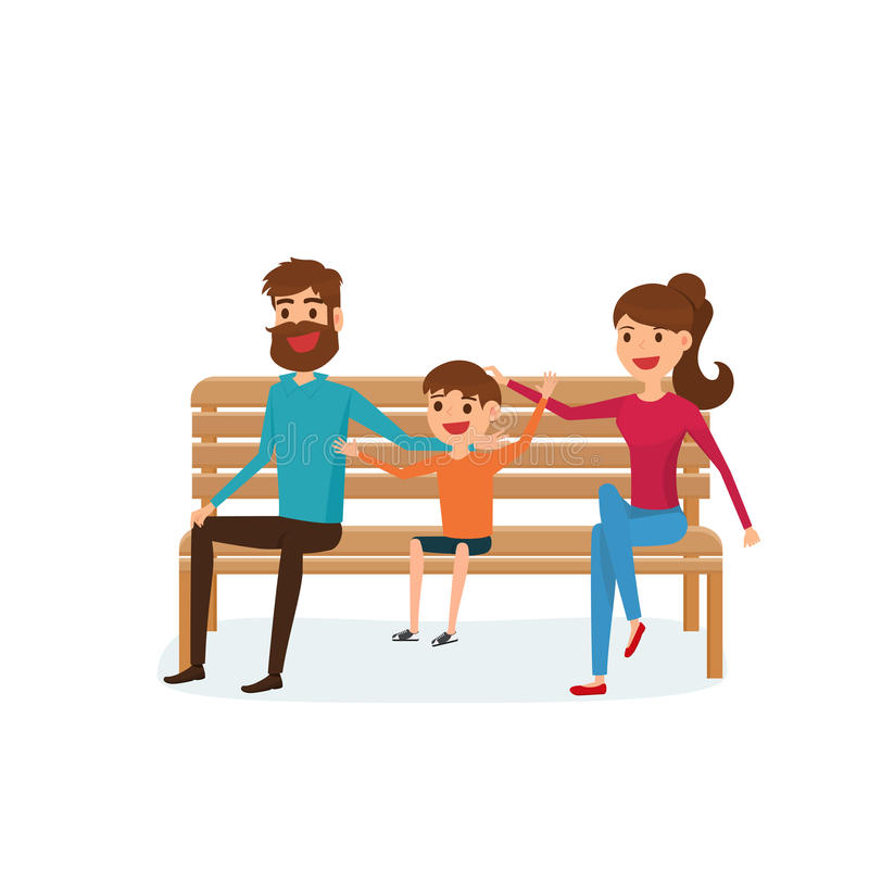 Happy family sitting on a bench in the park. Father, mother and children. Flat design style. stock illustration