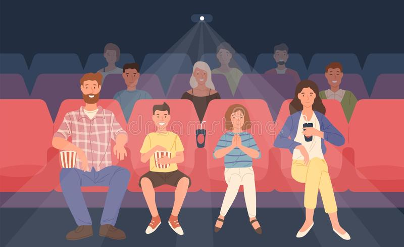 Happy family sitting in movie theater or cinema hall. Mother, father and their children watching film or motion picture stock illustration