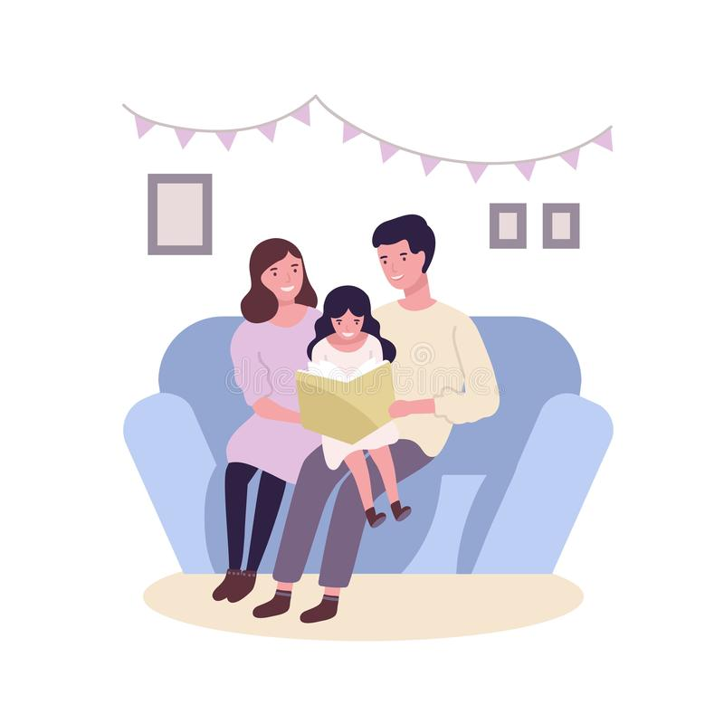 Happy happy family sitting on sofa and reading book or fairytale. Smiling mother, father and daughter spending time stock illustration