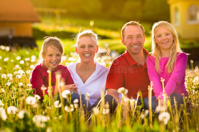 Download Happy Family Sitting In Summer Meadow Stock Image - Image: 26869095