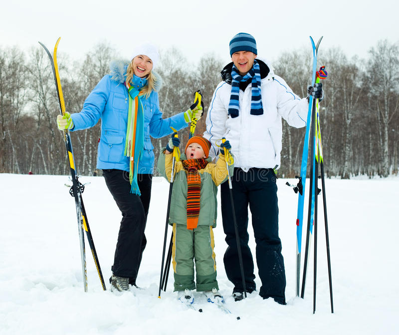 Download Happy family skiing stock photo. Image of female, active - 12027522