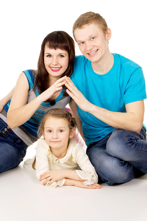 Happy family with a small child girl stock images