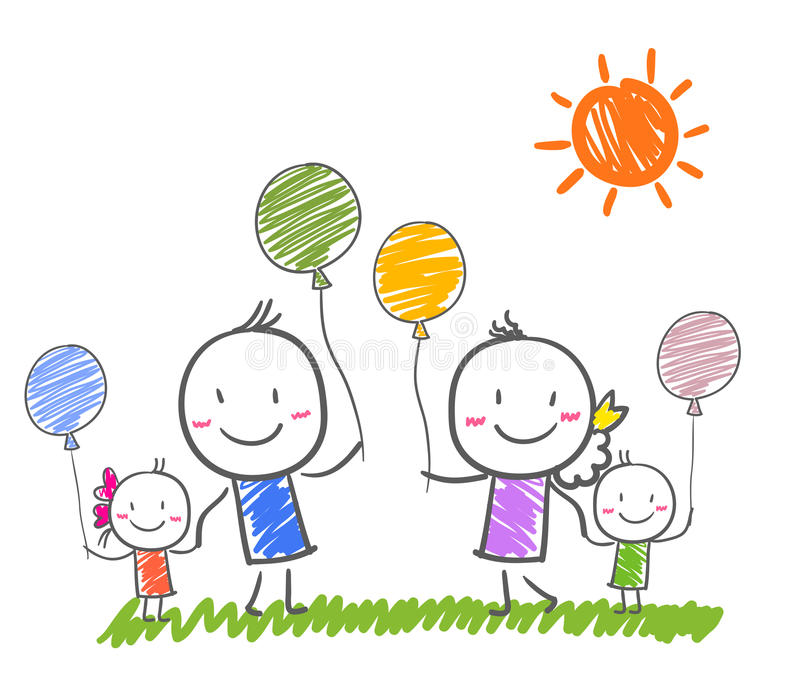 Happy family smiling together stock illustration
