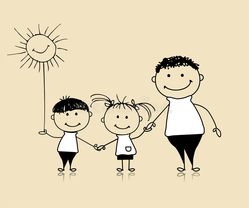 Happy family smiling together, father and children vector illustration