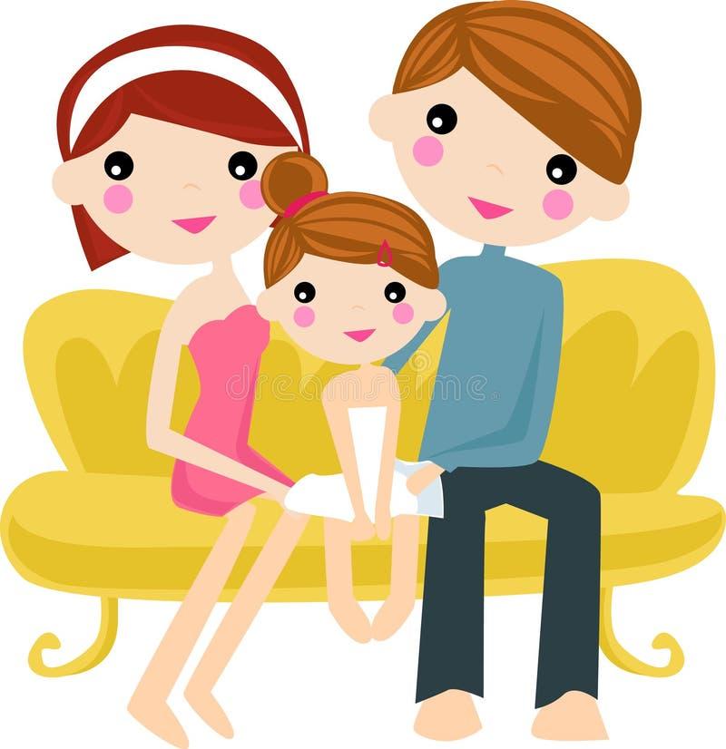 Happy Family On Sofa Stock Image