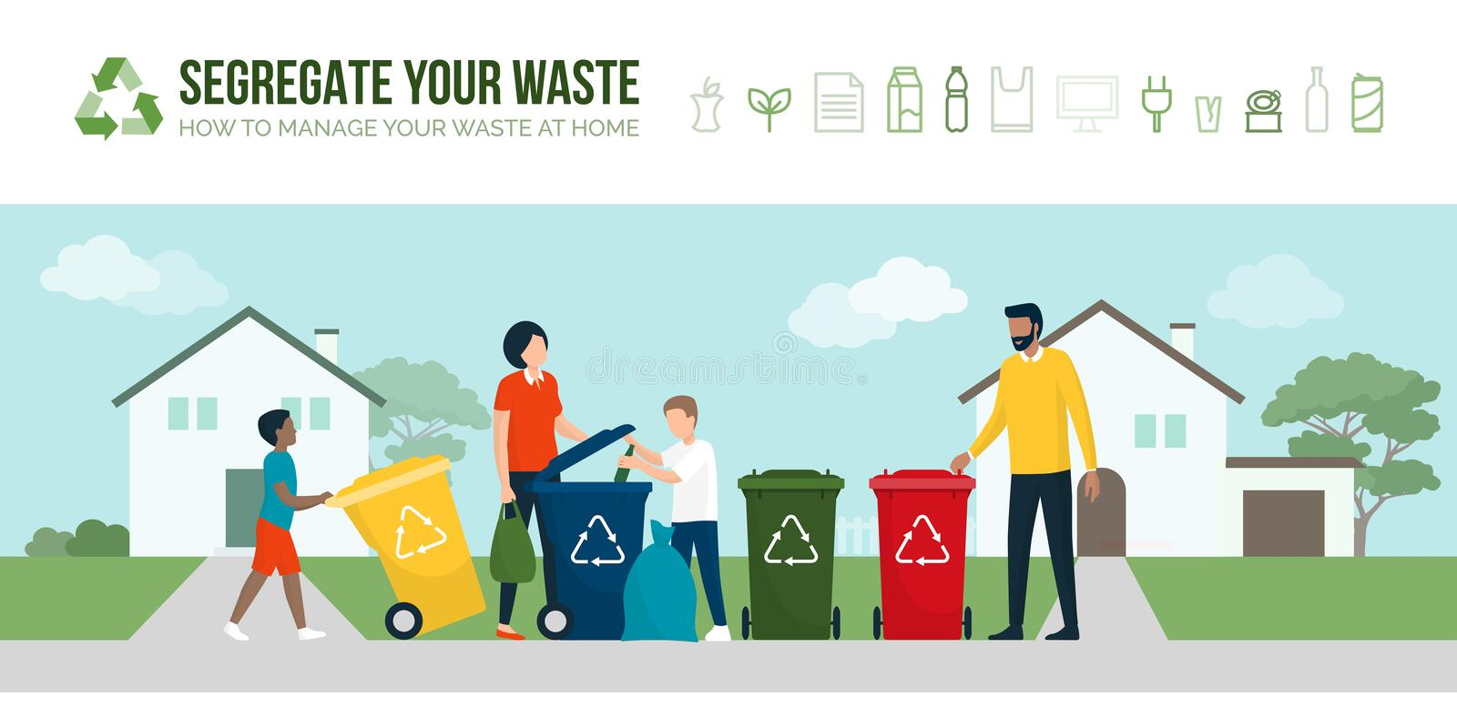 Happy family sorting waste and recycling vector illustration
