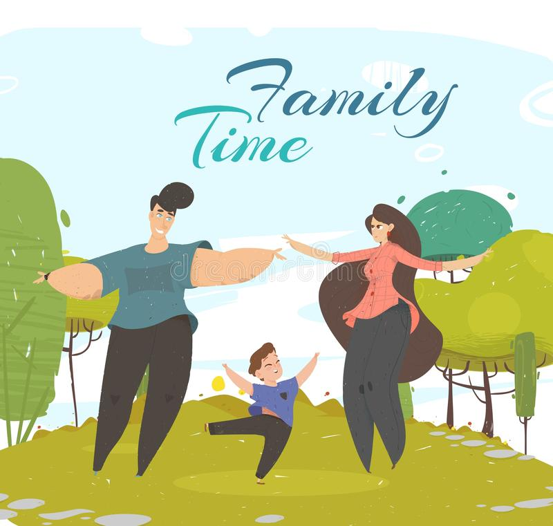 Happy Family Spend Time Together in Park Outdoors. Happy Family Spend Time Together in Park Happily Dancing on Green Field with Trees. Parents and Son Active royalty free illustration