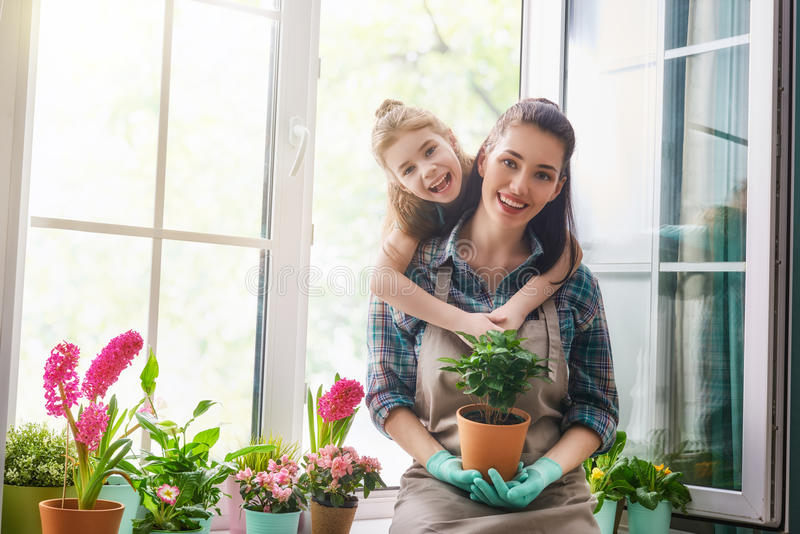 Happy family in spring day. stock photo