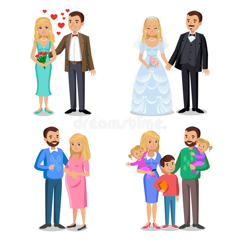 Happy family stages. Creating of happy family. royalty free illustration