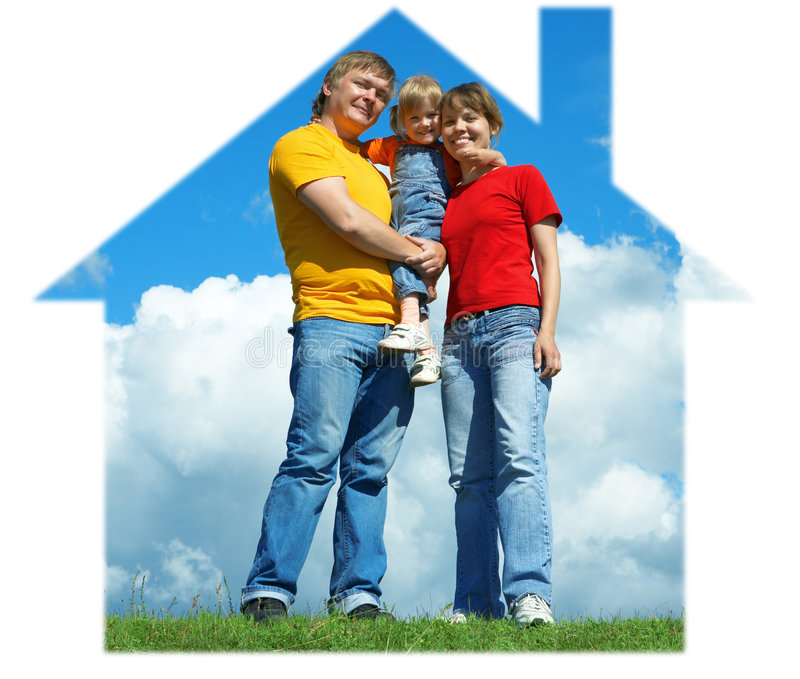 Happy Family Stand On Green Grass Under Sky Stock Image