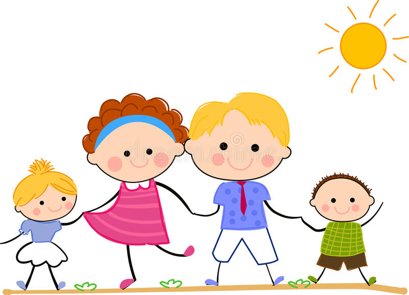Happy family standing together vector illustration