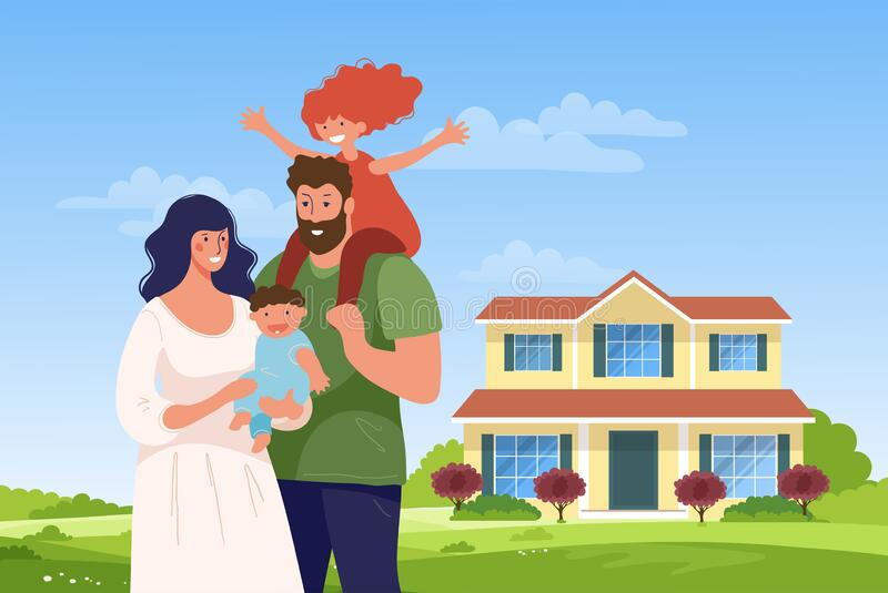 A happy family stands in the background of their new home. Concept illustration about sale, purchase, mortgage, realtor services, stock illustration
