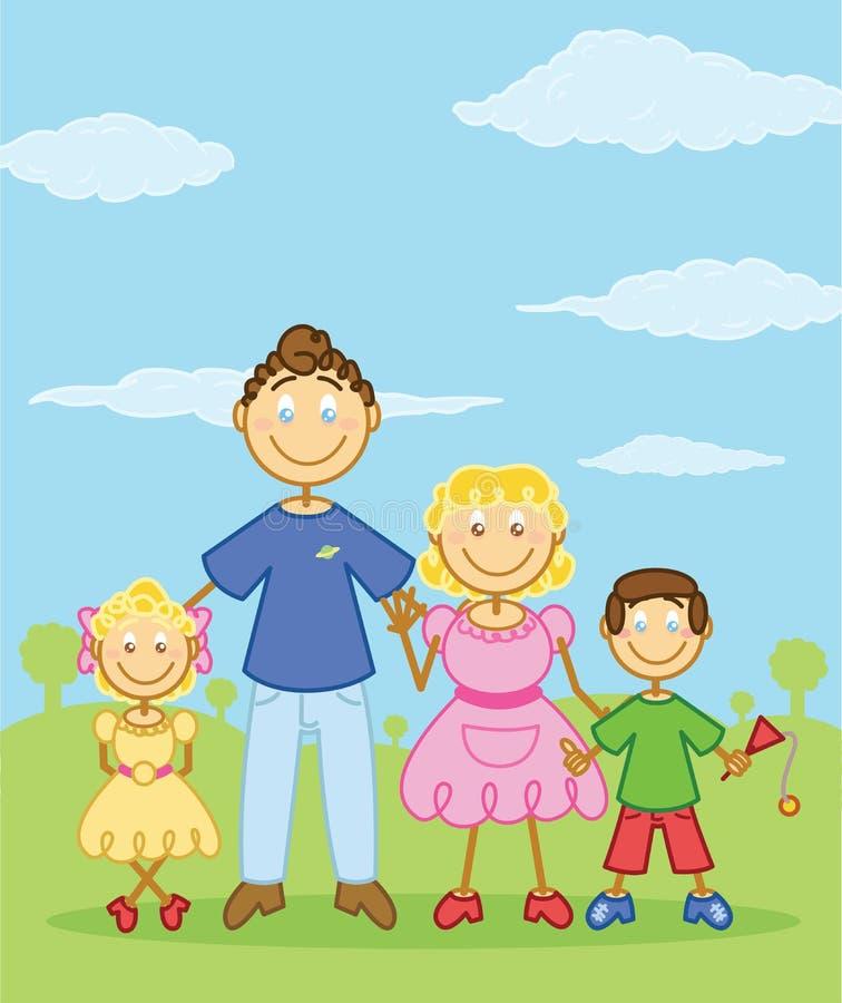 Happy family stick figure style illustration stock illustration