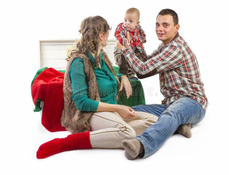Happy family in studio royalty free stock photo