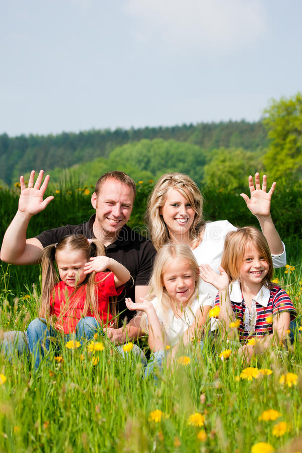 Download Happy family in summer stock image. Image of spring, leisure - 15584195