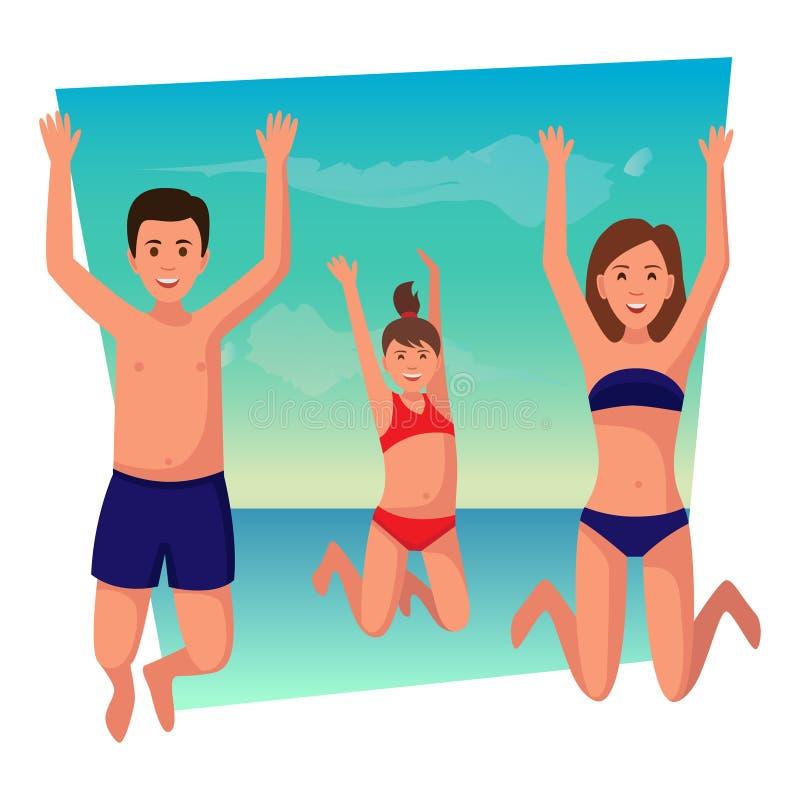 Happy family summer vacation. royalty free illustration