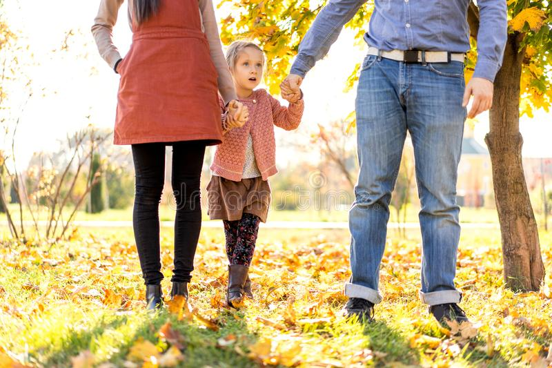Happy family at sunset walking in the park in autumn royalty free stock images