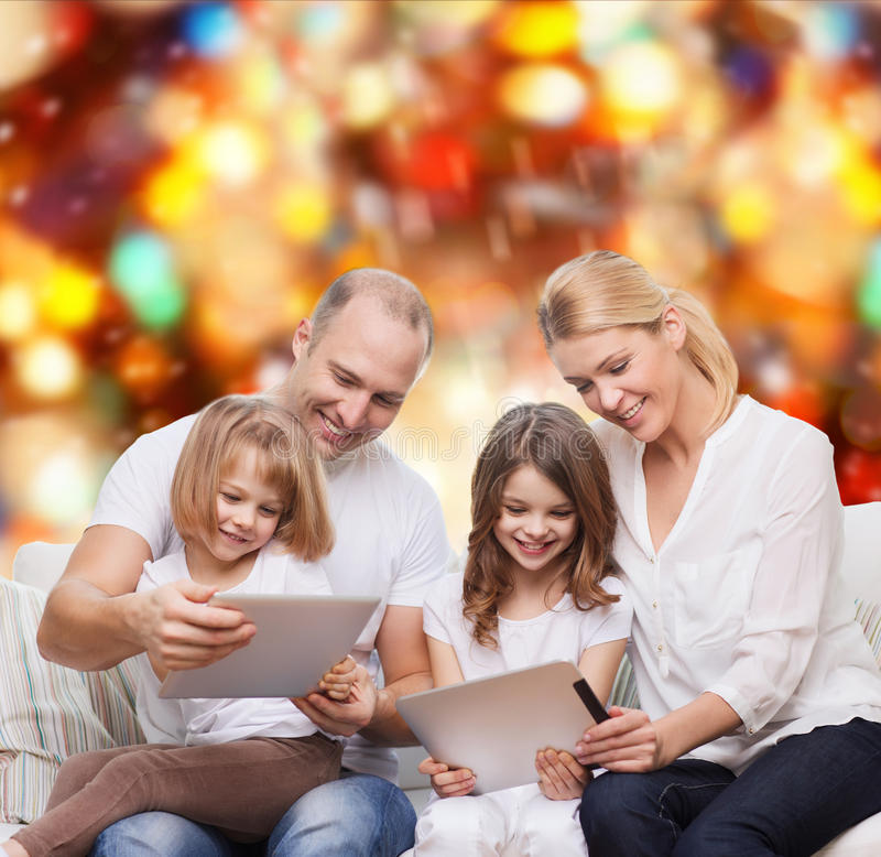 Download Happy Family With Tablet Pc Computers Stock Photo - Image of generations, happy: 45468770