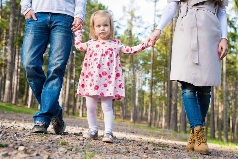 Happy family taking a walk in a park, family holding hands walking together along forrest path royalty free stock photography