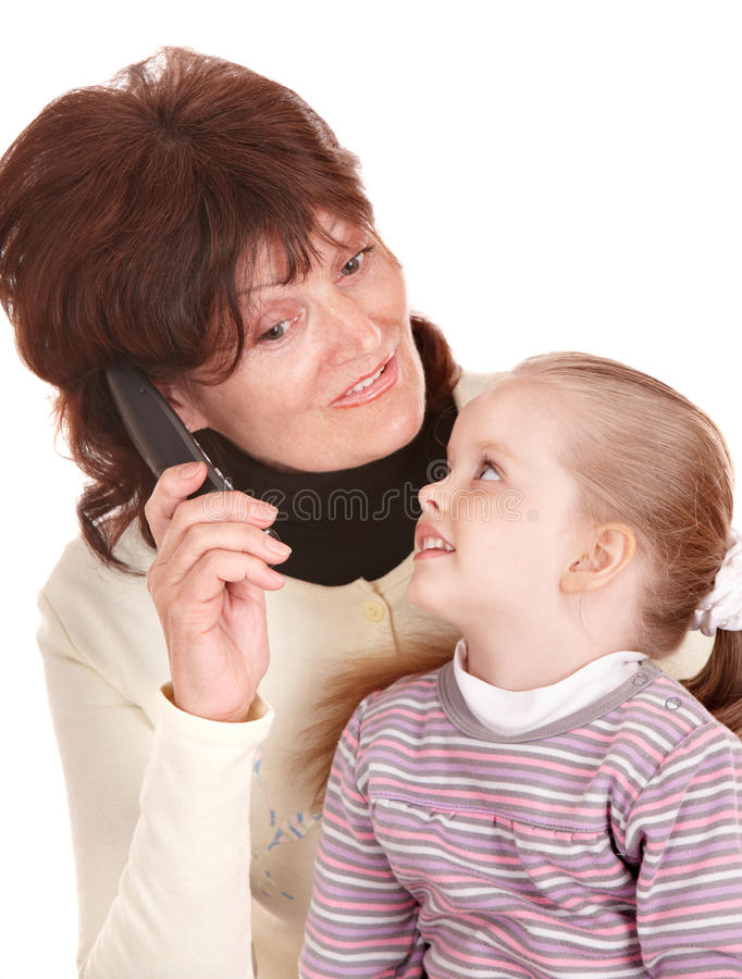 Happy family talking by mobile phone. royalty free stock image