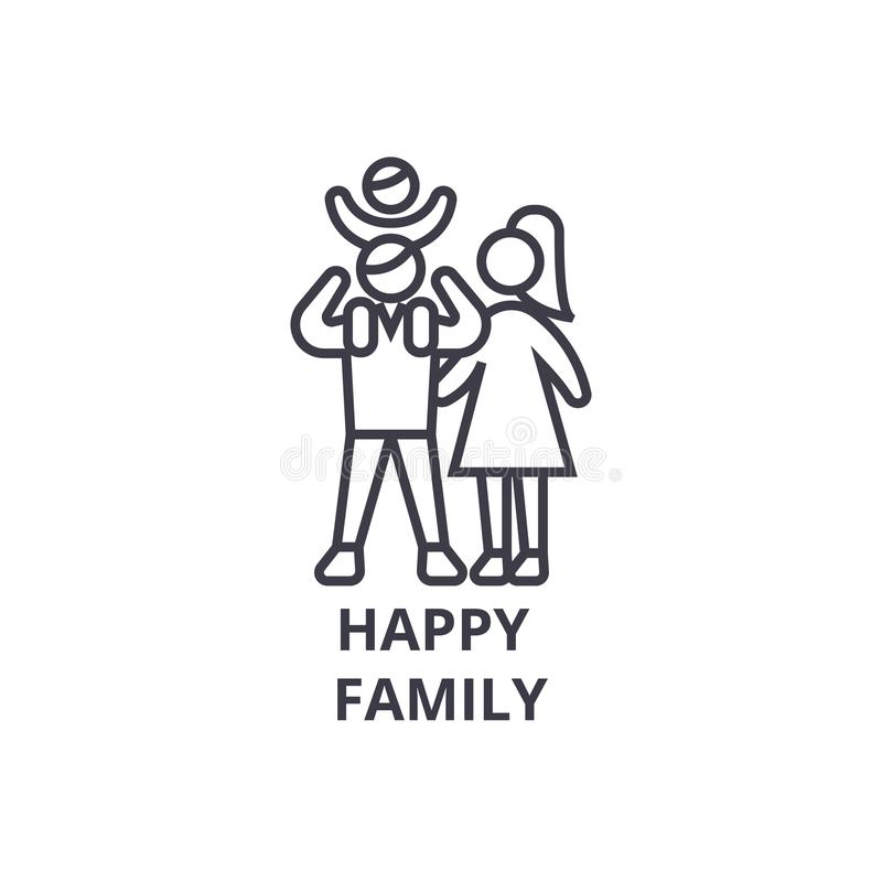 Happy family thin line icon, sign, symbol, illustation, linear concept, vector. Happy family thin line icon, sign, symbol, illustation, linear concept vector royalty free illustration