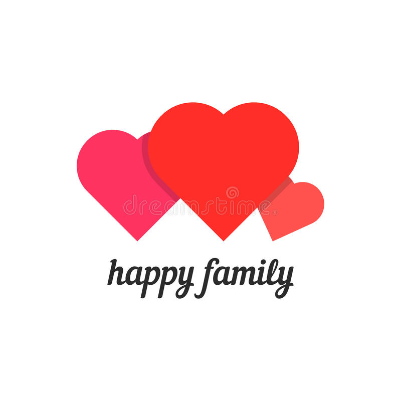 Happy family with three hearts vector illustration