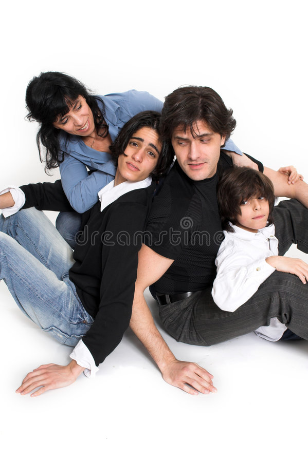 Happy family time. Happy family spending time together over white background stock photos