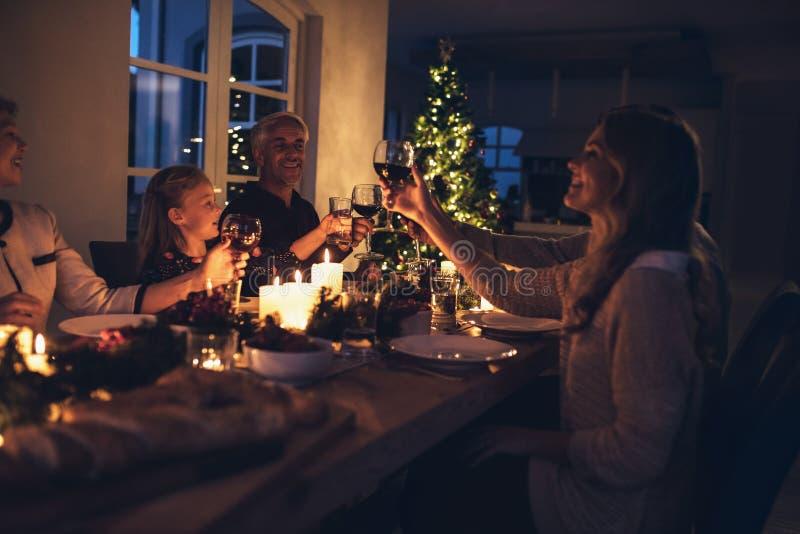 Family celebrating Christmas together stock photos