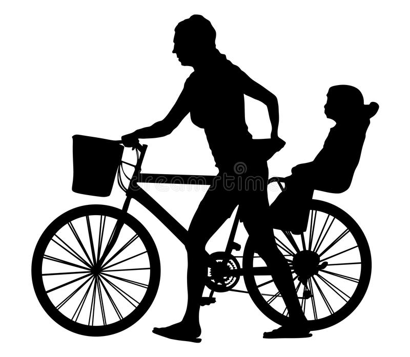 Happy family together go to picnic, mother walking child sitting on bicycle, silhouette. stock illustration