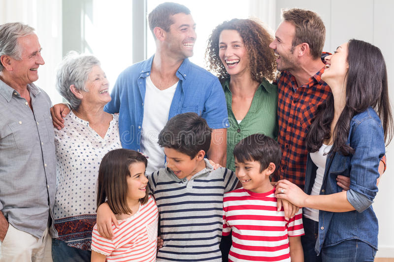 Happy family together at home stock images