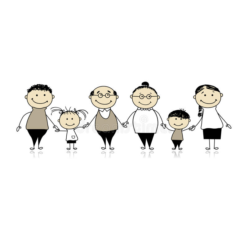 Happy family together - parents and children vector illustration