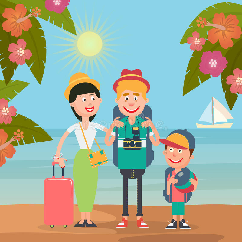 Happy Family on Travel by Airplane. Young Family on the Tropical Vacation royalty free illustration