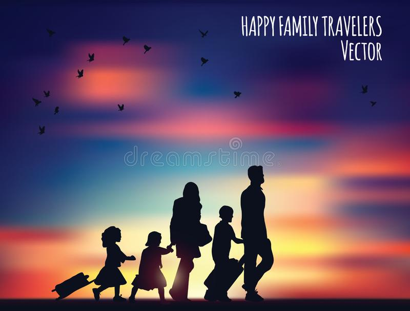 Happy family travelers and landscape. stock illustration