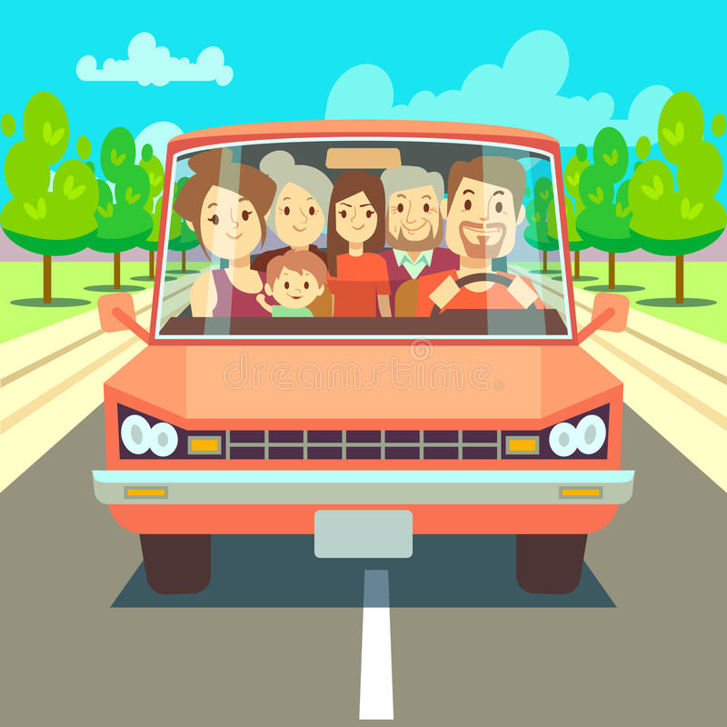 Happy Family Traveling By Car Driving On Road. Vector