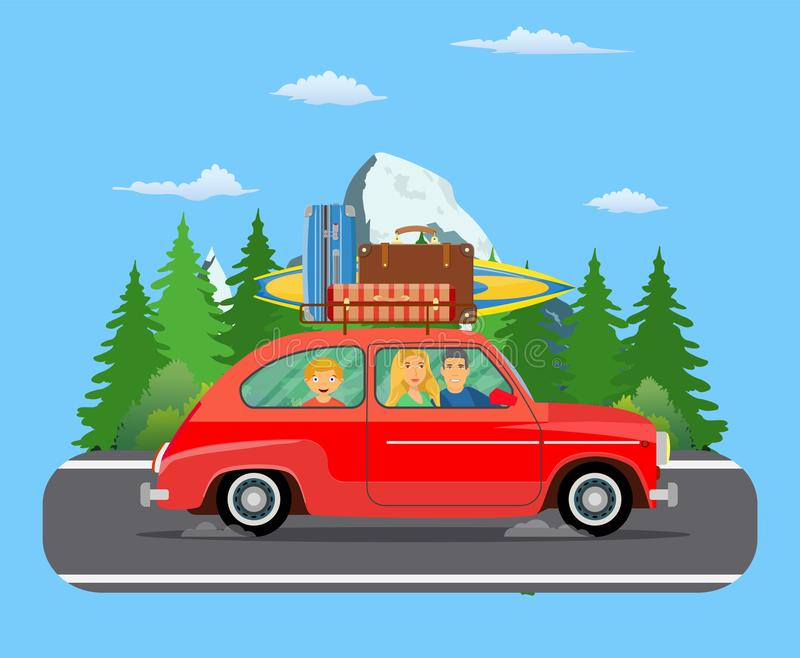 Happy family traveling by car vector illustration