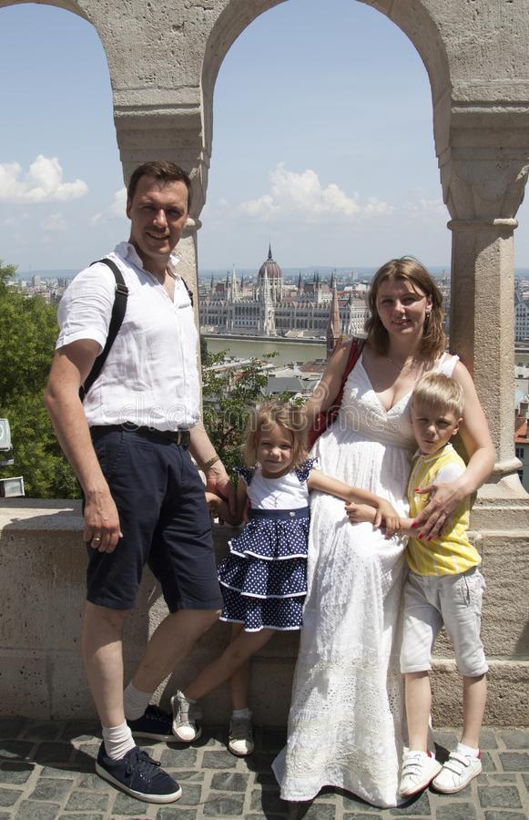 happy family traveling with two children smiling look at the cam royalty free stock photography