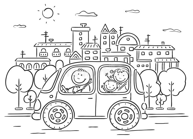 Happy family travelling by car - black and white stock illustration