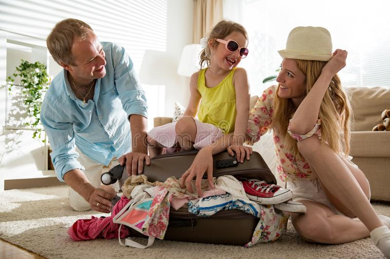 Happy family travelling stock image