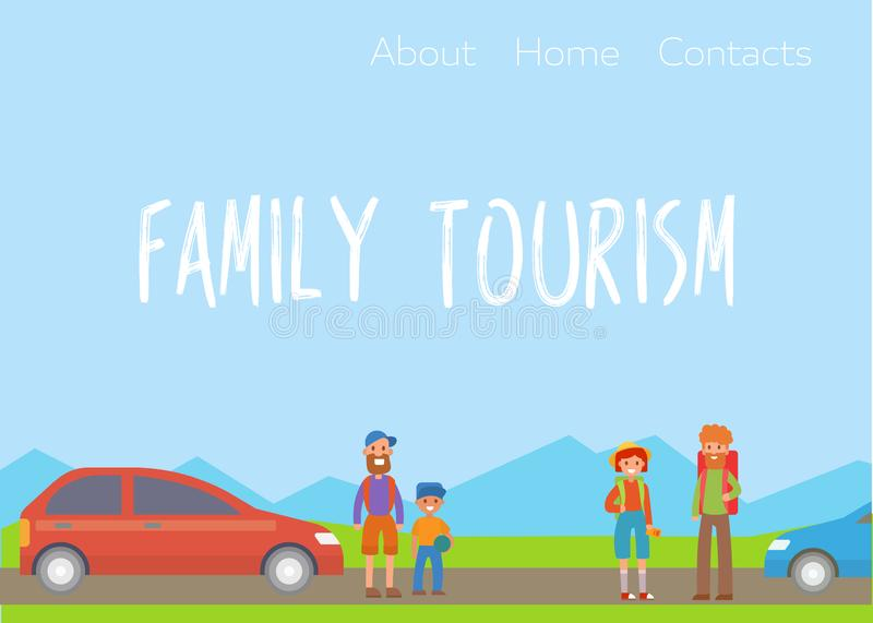 Happy family travelling with packs outdoors vector illustration. Poster, card family travel day. Family and parenthood royalty free illustration