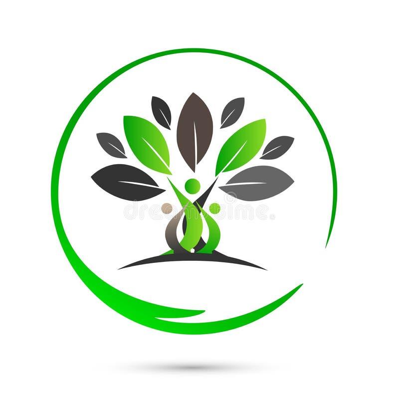 Happy family tree logo stock illustration