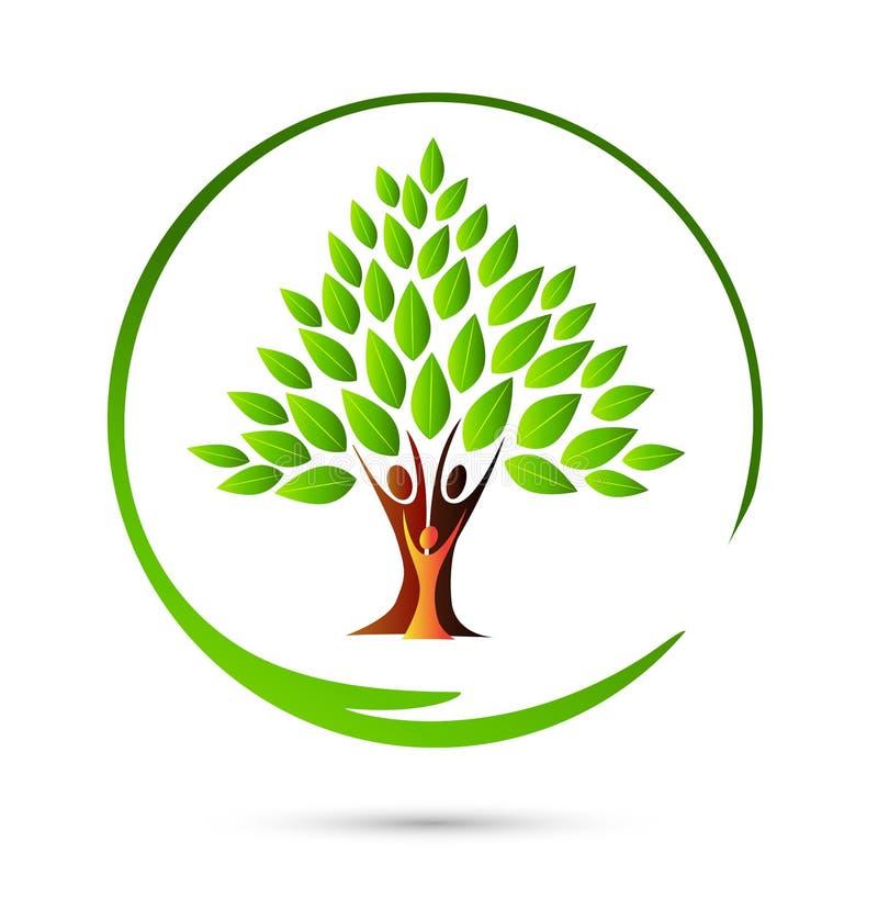 Happy family tree logo vector illustration