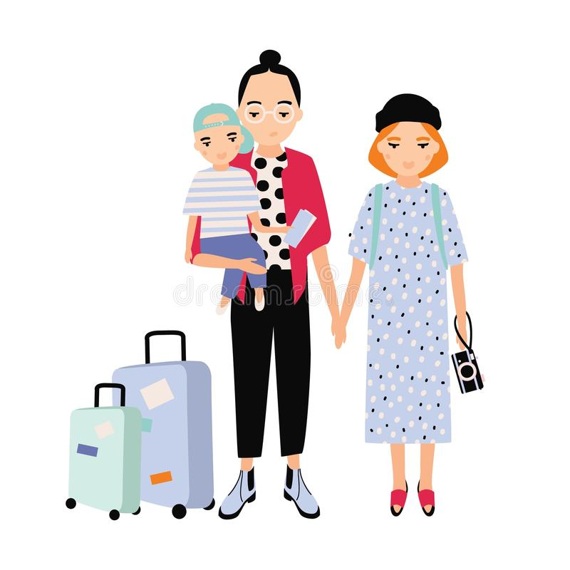 Happy family on trip. Mother, father and baby son traveling together. Parents and toddler child with touristic bags. Flat cartoon characters isolated on white royalty free illustration