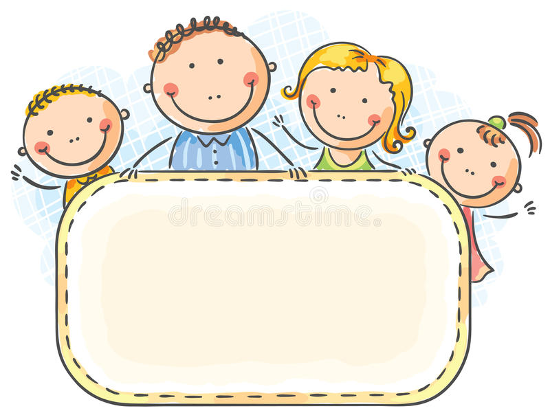Happy family with two children vector illustration