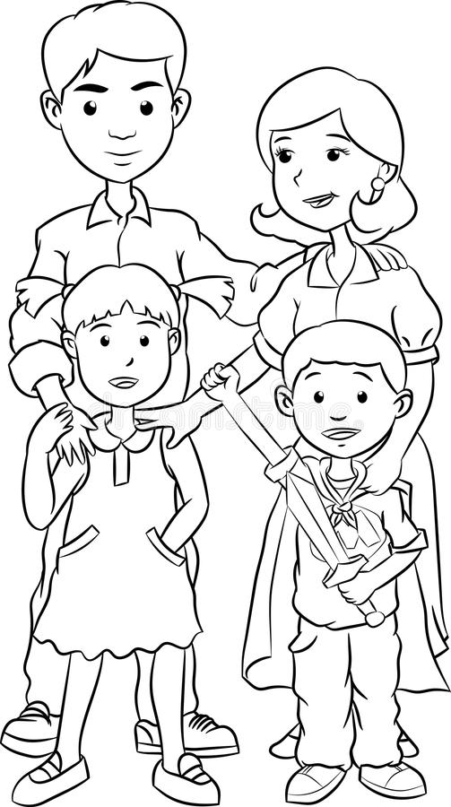 Happy family with two children, line art cartoon vector illustration