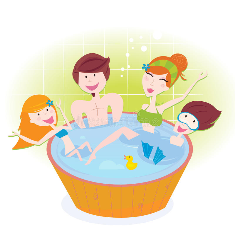 Happy Family With Two Children In Whirlpool Bath Royalty Free Stock Image