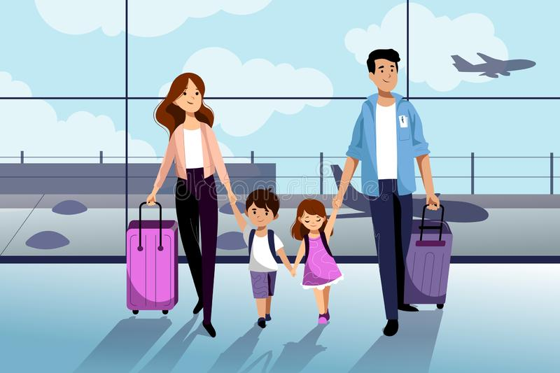 Happy family with two kids going to their summer vacation. Family travel by airplane. Vector flat cartoon illustration vector illustration
